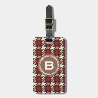 Monograma rojo marrón de la tela escocesa del houn etiquetas de maletas