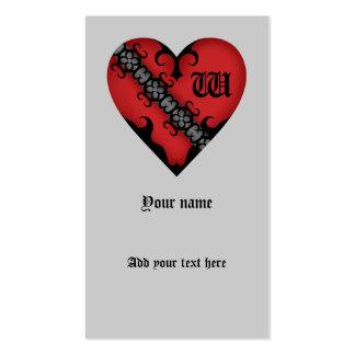 Monograma rojo medieval gótico romántico del tarjetas de visita