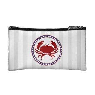 Monograma rojo náutico de las rayas del cangrejo y
