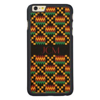 Monograma rojo, paño amarillo, verde, negro de funda de arce carved® para iPhone 6 plus