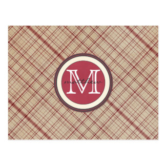 Monograma rojo personalizado de la tela escocesa postal