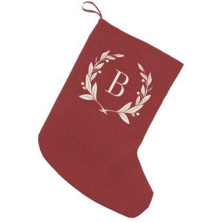 Monograma rojo rústico de la guirnalda del laurel calcetín de navidad pequeño