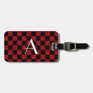 Monograma rojo y brillo negro a cuadros etiquetas para equipaje