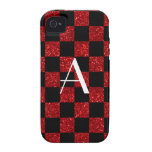 Monograma rojo y brillo negro a cuadros Case-Mate iPhone 4 fundas