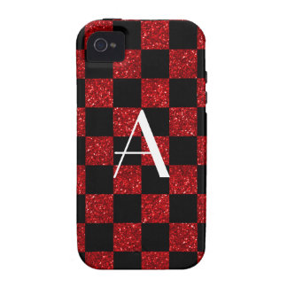 Monograma rojo y brillo negro a cuadros Case-Mate iPhone 4 fundas