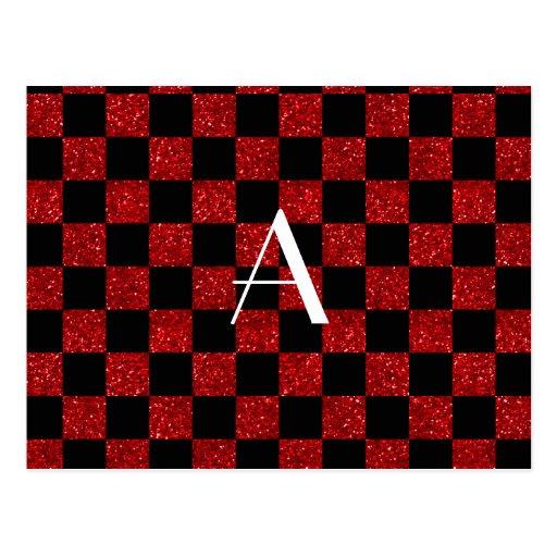 Monograma rojo y brillo negro a cuadros tarjetas postales