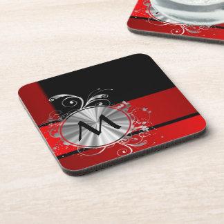 Monograma rojo y de plata moderno posavasos