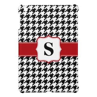 Monograma rojo y negro de Houndstooth personalizad iPad Mini Funda