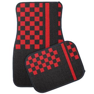 Monograma rojo y negro de la raya que compite con alfombrilla de auto