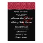 Monograma rojo y negro del boda del damasco del anuncio personalizado