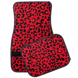 Monograma rojo y negro del estampado leopardo el | alfombrilla de auto