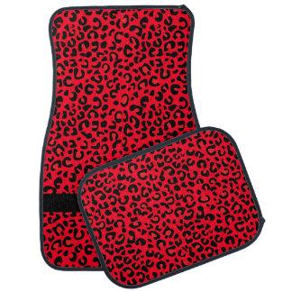 Monograma rojo y negro del estampado leopardo el | alfombrilla de coche