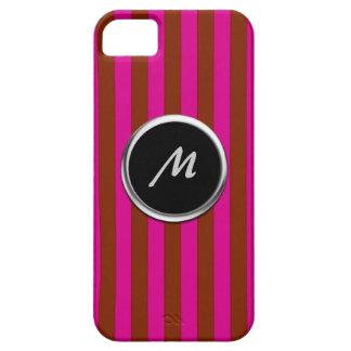Monograma rojo y rosado de la raya iPhone 5 carcasa