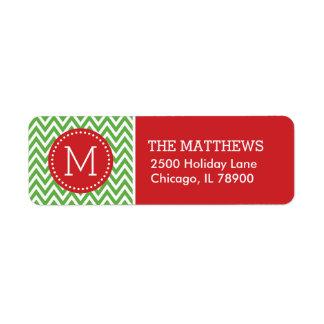 Monograma rojo y verde de Chevron del día de Etiqueta De Remite