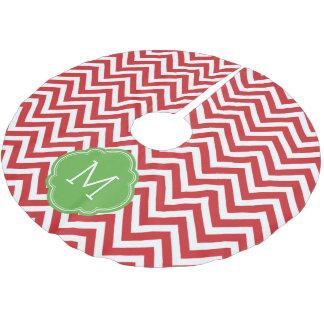 Monograma rojo y verde de Chevron Falda Para Arbol De Navidad De Poliéster