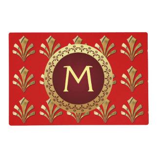 Monograma romano rojo tapete individual