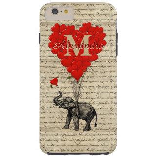 Monograma romántico del corazón del elefante y del funda de iPhone 6 plus tough