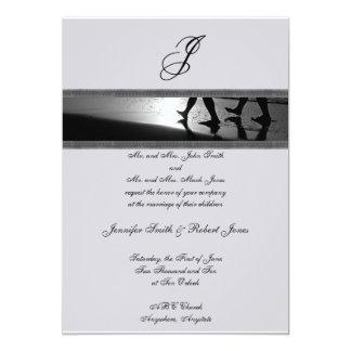 """Monograma romántico del paseo en el gris de plata invitación 5"""" x 7"""""""