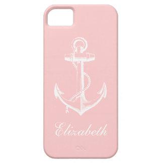 Monograma rosa claro del personalizado del ancla iPhone 5 fundas