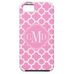 Monograma rosa claro y blanco de Quatrefoil del mo iPhone 5 Carcasas
