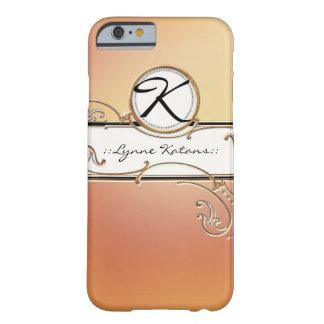 Monograma rosado anaranjado elegante pródigo funda de iPhone 6 barely there