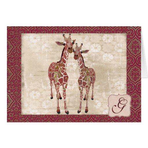 Monograma rosado apacible Notecard de las jirafas Tarjeta Pequeña