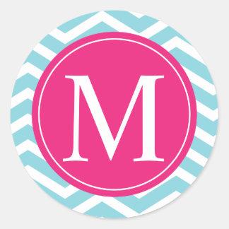 Monograma rosado azul de Chevron Etiqueta Redonda