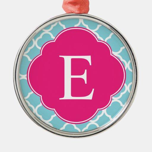 Monograma rosado azul de Quatrefoil Ornaments Para Arbol De Navidad