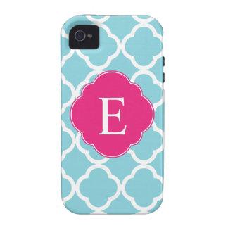 Monograma rosado azul de Quatrefoil Case-Mate iPhone 4 Carcasa