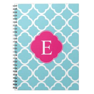 Monograma rosado azul de Quatrefoil Libros De Apuntes Con Espiral