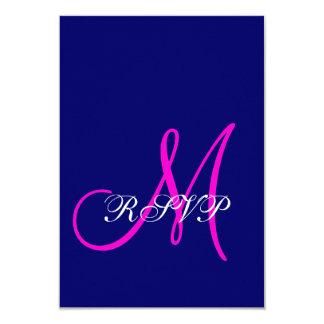 Monograma rosado azul que casa las tarjetas de comunicado personalizado