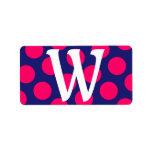 Monograma rosado azul y brillante de medianoche de etiquetas de dirección