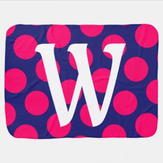 Monograma rosado azul y brillante de medianoche mantita para bebé