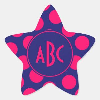 Monograma rosado azul y brillante de medianoche pegatina en forma de estrella