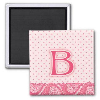 Monograma rosado B del lunar Imán Cuadrado