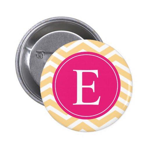 Monograma rosado blanco amarillo de Chevron Pin