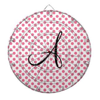 Monograma rosado blanco de los lunares tablero de dardos