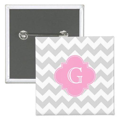Monograma rosado blanco gris claro de Chevron