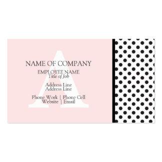 Monograma rosado blanco negro del diseñador de tarjetas de visita