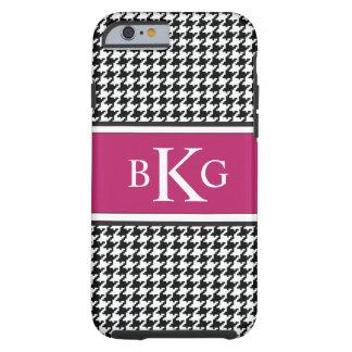 Monograma rosado blanco negro del modelo de funda de iPhone 6 tough