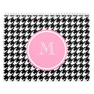 Monograma rosado blanco y negro de Houndstooth Calendarios