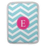 Monograma rosado brillante blanco azul de Chevron Fundas Para iPads
