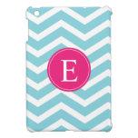 Monograma rosado brillante blanco azul de Chevron iPad Mini Protectores