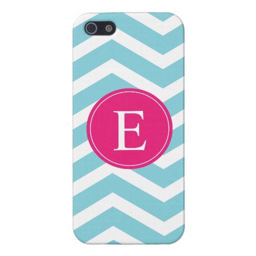 Monograma rosado brillante blanco azul de Chevron iPhone 5 Protector