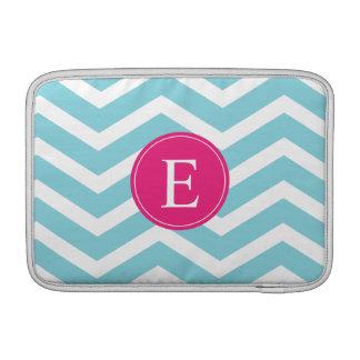 Monograma rosado brillante blanco azul de Chevron Fundas Para Macbook Air