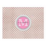 monograma rosado brillante de los puntos rosados tarjetas postales