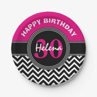 Monograma rosado Chevron del trigésimo cumpleaños Plato De Papel De 7 Pulgadas