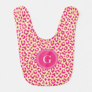 Monograma rosado colorido femenino de la impresión babero