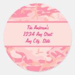 Monograma rosado de Cusom del camuflaje Etiqueta Redonda