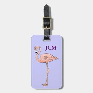 Monograma rosado de encargo de la identificación etiquetas para maletas